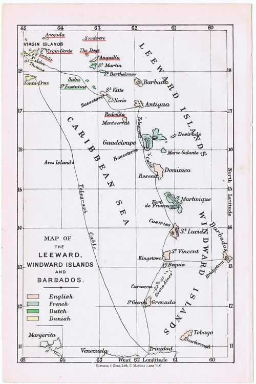 HARRISON & SONS Map of the Leeward, Windward Islands and Barbados    Harrison & sons (1897)  http://www.pennymead.com/results.php?ct=4=289=s