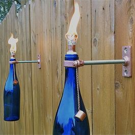 Cobalt Blue Wine Bottle Tiki Torches, Set of 4 by Great Bottles of Fire - eclectic - outdoor lighting - Etsy