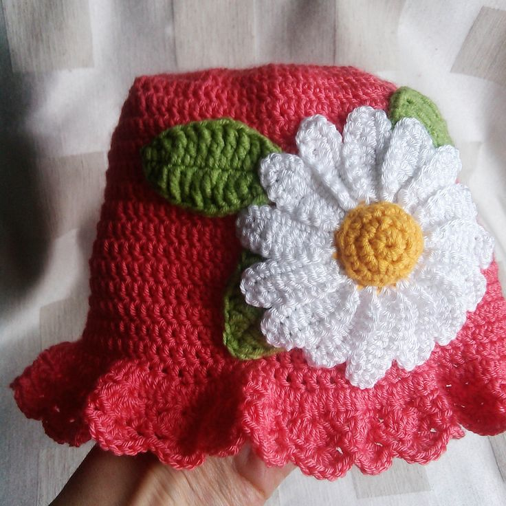 Girl's Hand Crochet Pink Sun Hat with flowers- Baby, Todler, Child by Bene66 on Etsy