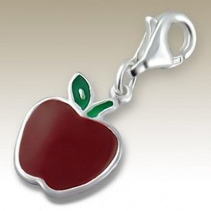 alisilverjewellery.com : Charms with Lobster - Apple charm with lobster - finishing: Sterling silver+E-coat - size: 1.0x1.2cm.