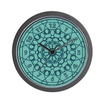 Lines Clock in Teal Wall Clock