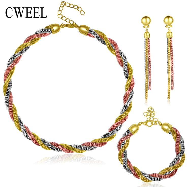 Afrikaanse Kralen Voor Sieraden Sets Vrouwen Geïmiteerd Crystal Ketting Oorbellen 3 Kleur Vergulde Hanger Trouwjurk Accessoires