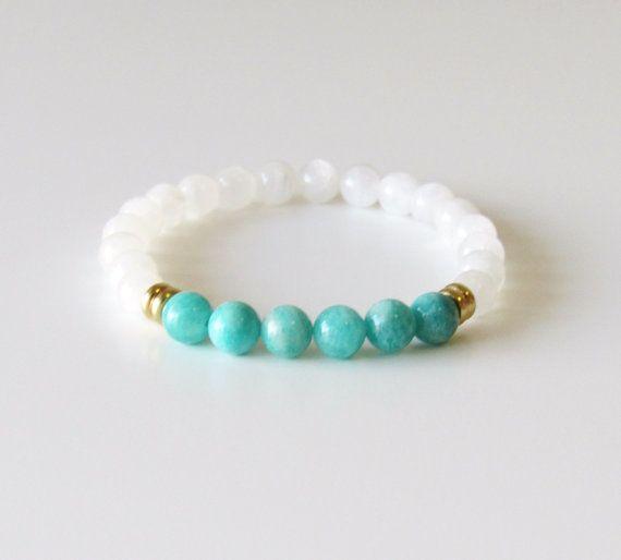 Moonstone  Bracelet  Amazonite Bracelet  Wrist Mala  by BBTresors