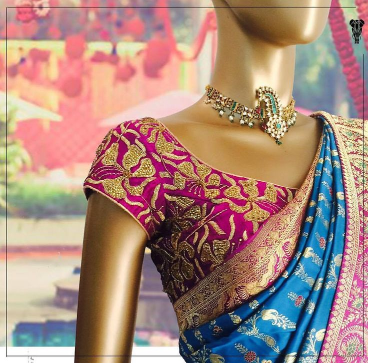 Love this pink blue saree blouse combination #Frugal2Fab
