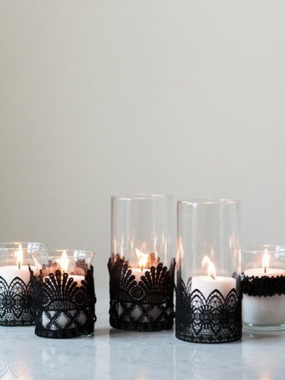 DIY Black Lace Candle Holders thumbnail