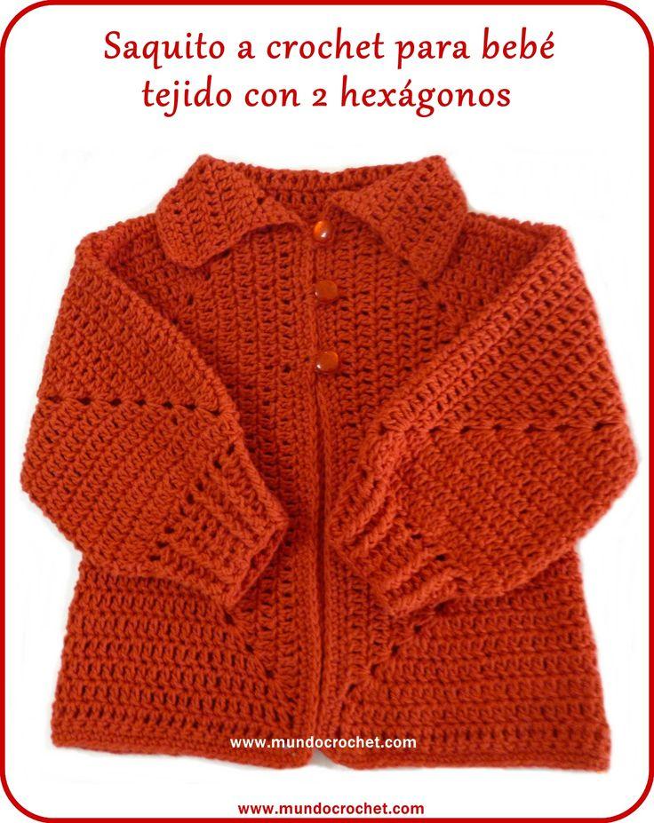 Saquito a crochet para bebé tejido con 2 hexágonos sin calado: Patrón y Paso a Paso