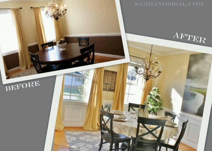 Dining Room Before After A How To Install Picture Frame Molding Wainscoting Great Idea Add Classical Architectural Detail