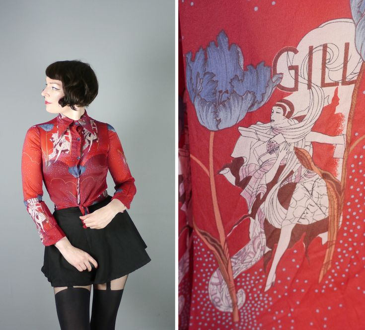 Art Nouveau LADY print 60s 70s shirt in BURGUNDY / wine red - novelty semi SHEER mod pop art blouse top - S by SartorialMatters on Etsy https://www.etsy.com/listing/522311658/art-nouveau-lady-print-60s-70s-shirt-in