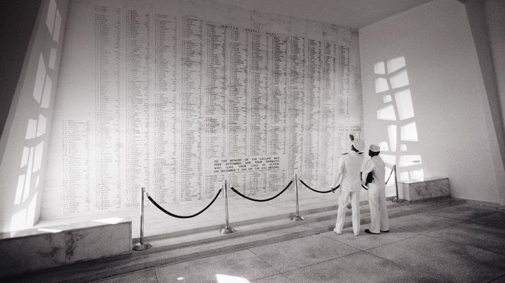 The Memorial Wall inside the USS Arizona Memorial at Pearl Harbor, Oahu, Hawaii  by Carl Shaneff @ Getty Images