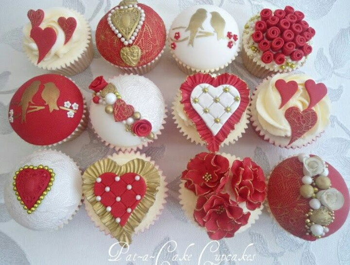 Awesome Valentines/love Style Cupcakes In Red, White And Gold.