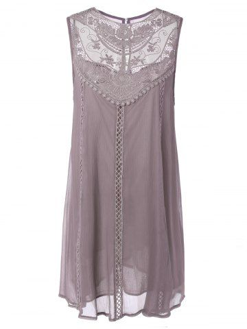 Embroidered Lace Insert Plus Size Dress