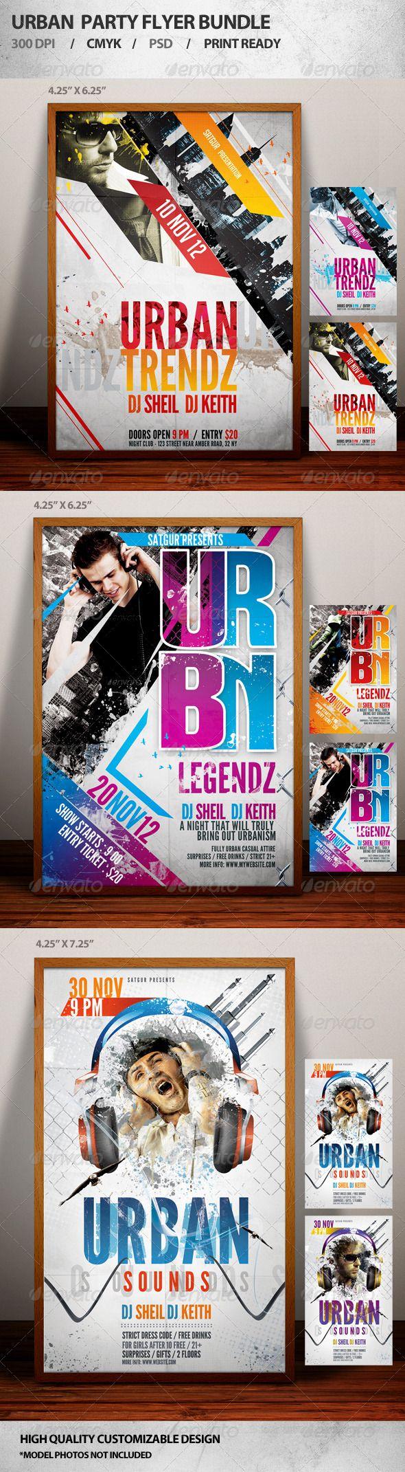 Poster design dimensions - Urban Party Flyer Bundle