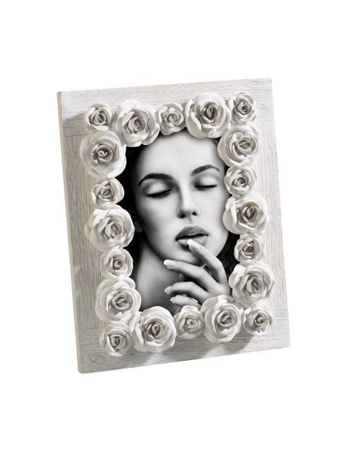 PORTAFOTO IN LEGNO A281   Portafoto in legno decapato con rose in resina. Felix Design.