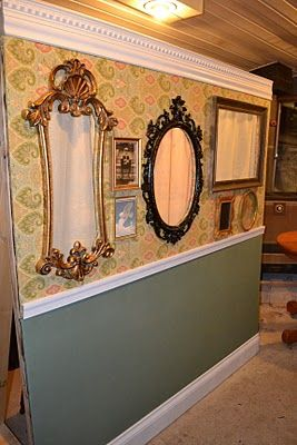 DIY photo booth wall. Just stand behind the frames and take your picture! So clever!