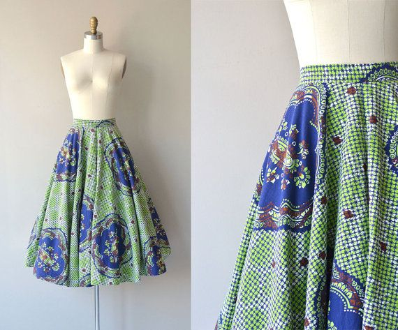 Mandala skirt  vintage 1950s skirt  cotton 50s by DearGolden