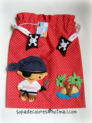 "Cool Pirate Party Bag or make it bigger and it's a cute book bag... wait, my son is calling this a ""treasure bag"""