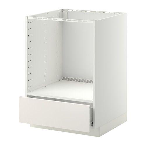 IKEA - METOD / FÖRVARA, Spod. skř. na troubu se zásuvkou, bílá, Veddinge bílá, , Zásuvky se zarážkou (lehce se otevírají)Zásuvky mají samozavírací funkci pro posledních pár centimetrů.Masivní konstrukce rámu, tloušťka 18 mm.