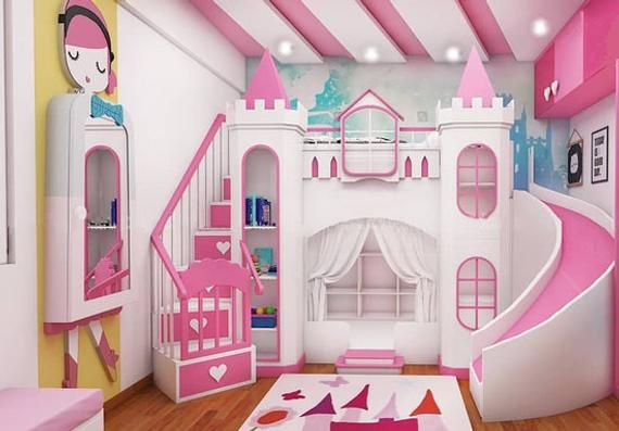 Made To Order Princess Dream Castle Bunk Bed With Winding Slide