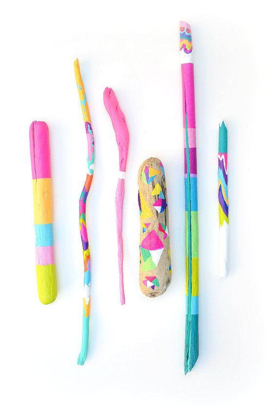 Painted Driftwood Sticks - Neon, Colorful, Color Block, Summer Colors - Beach, Shapes, Geometric, Chevron Home Decor - Centerpiece, Vase