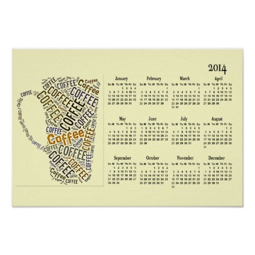 Calendar Word Art : Coffee cup word art wall calendar poster office