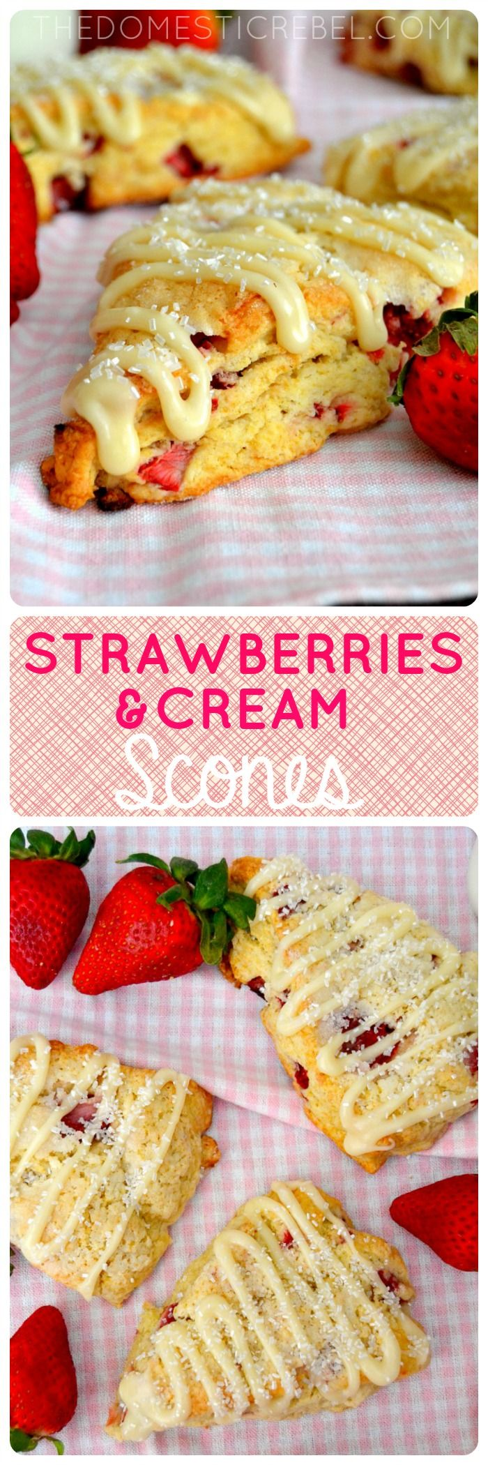 These moist & tender Strawberries & Cream Scones are the perfect weekend breakfast! Comes together in minutes and baked until golden perfection.