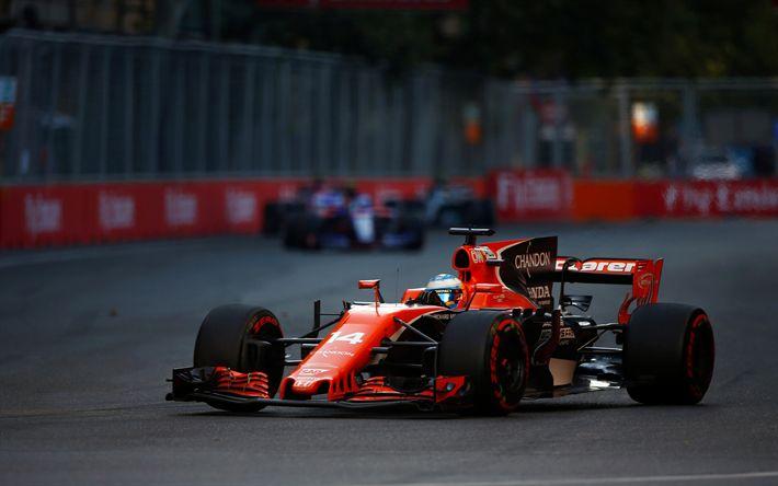 Descargar fondos de pantalla Fernando Alonso, 4k, Fórmula 1, F1, 2017 coches, McLaren F1, McLaren MCL32