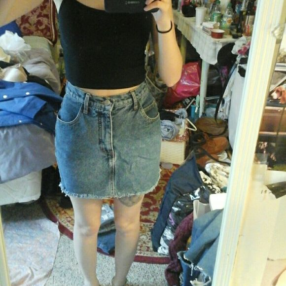 Vintage Guess High Waisted Jean Skirt So cute! Vintage Guess Jeans skirt, goes with everything. Has a raw cut slightly distressed bottom. Vintage size 28 but fits like a 24/25! :) Listed for exposure! Urban Outfitters Skirts Mini