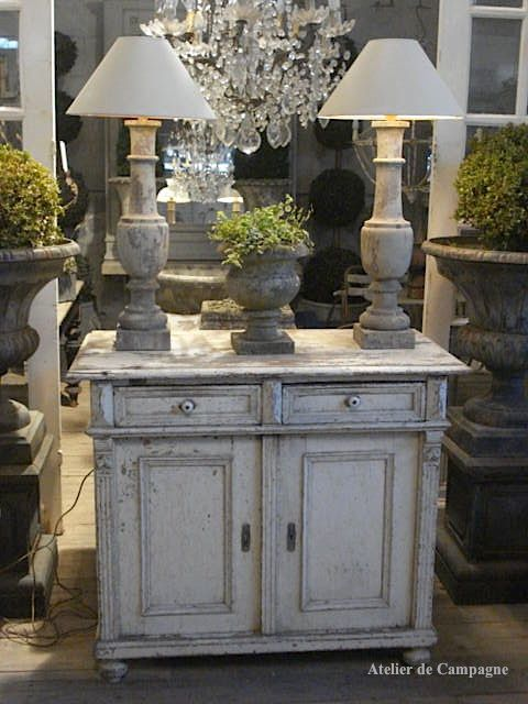 White Cabinet with Baluster Lamps