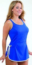 T.H.E. Plus Size Blue Polyester Swimdress 100% polyester...solid royal swimdress with white piping and side ties...soft cups...adjustable straps... high scoop back...tummy control...very durable chlorine-resistant fabric...a great suit for water aerobics!...available in sizes 18W to 32W...