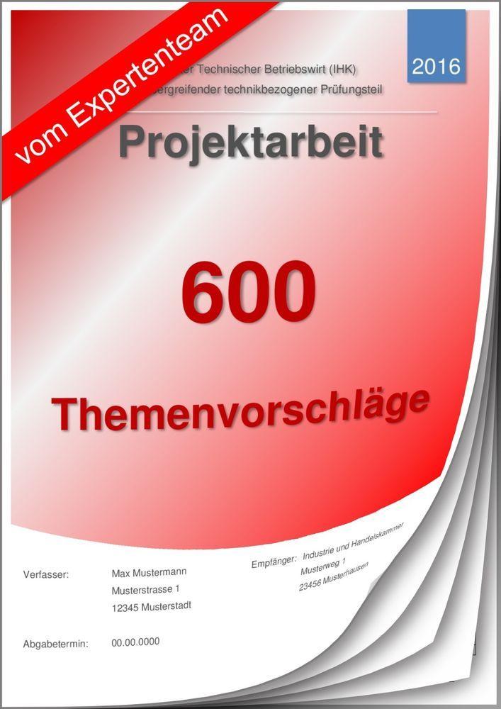 Betriebswirt Projektarbeit Themenvorschläge Technischer Betriebswirt TBW 600