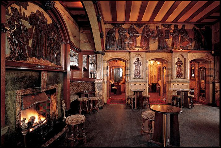 """The Black Friar, Queen Victoria Street: Built near the site of the Friary, established in 1279, which gave the Blackfriars area its name. In 1905 the interior was remodelled in high Arts and Crafts style. Sculptors created a riotous medieval fantasy of """"Merrie England""""."""