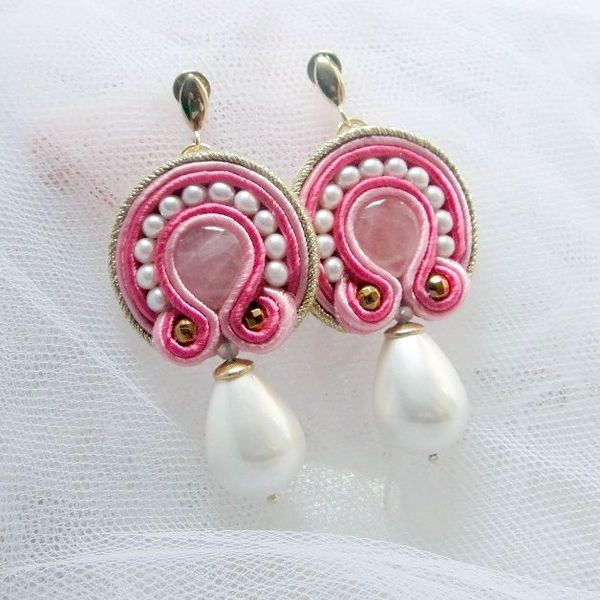 Peonie soutache earrings with pink quartz from ~ Blue Butterfly ~ by DaWanda.com