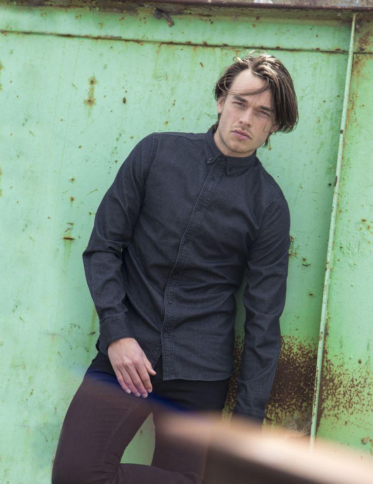 RVLT - men's fashion. A clean look denim shirt in a soft fabric.