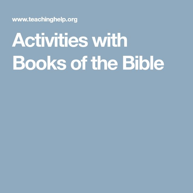 Activities with Books of the Bible