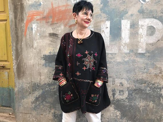 Black tunic , oversized layering , pure wool , rabari kutch , hand embroidery , bandhani tie dye , pockets , flowers embroidered ,