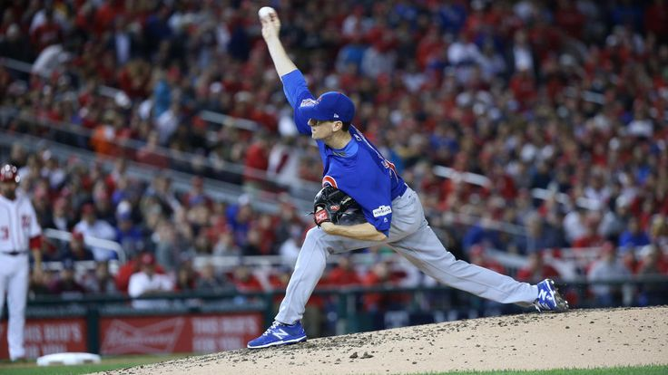 October 12, 2017:  NLDS Game 5: Cubs-Nationals -   the Cubs advanced to the National League Championship Series with a thrilling 9-8 victory over the Nationals in Game 5 of the NLDS.   Cubs starting pitcher Kyle Hendricks throws to begin the fourth inning.