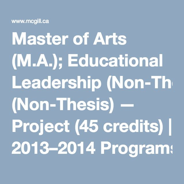 Non thesis masters degrees