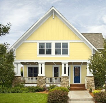 Yellow house blue door home exterior pinterest for Yellow and red house