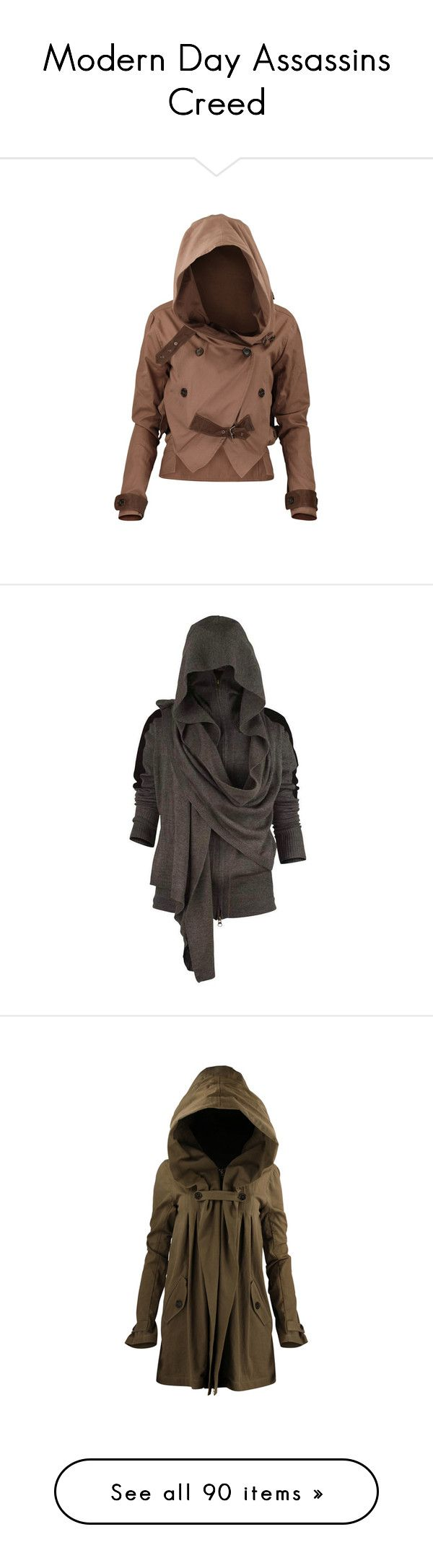 """""""Modern Day Assassins Creed"""" by samantha-burns3 ❤ liked on Polyvore featuring outerwear, jackets, coats, tops, women, 100 leather jacket, pocket jacket, buckle leather jacket, buckle jackets and genuine leather jacket"""