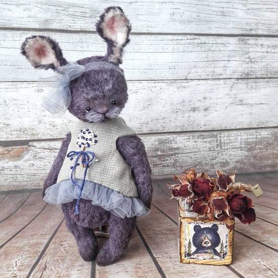 """Judy By Olga Cherkas - The bunny Judy is made from viscose. He is completely hand sewn. All parts of the body can move as they are disk jointed.For eyes l used german glass eyes. Tinted oil. Filled with sawdust,steel and mineral granules. size, 6.5""""(17 cm) without the ears, with the ears 23 cm. Dr..."""