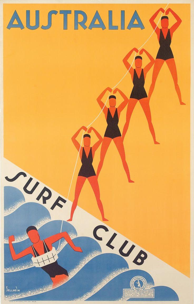 Australia Surf Club poster by Gert Sellheim circa 1936.