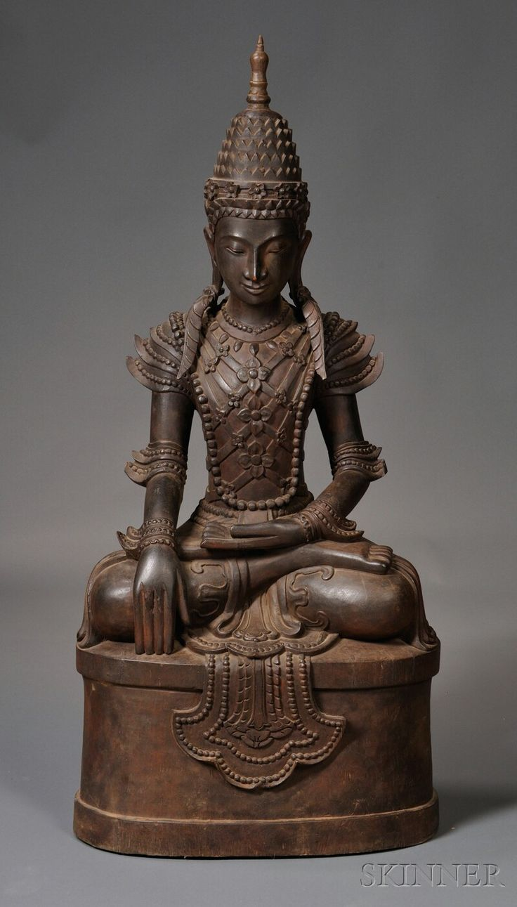 carved wood buddha burma 20th century depicted seated. Black Bedroom Furniture Sets. Home Design Ideas