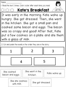 This pack contains 15 reading comprehension passages that target FLUENCY and COMPREHENSION through SEQUENCING STORY EVENTS in an INTERACTIVE way.The students will really have to go back in the text to be able to do the cut and paste.The students will have to:* read the passage 3 times to improve FLUENCY* cut the sentences at the bottom of the page and glue them in the order they are in the story to show COMPREHENSION Story titles:1.