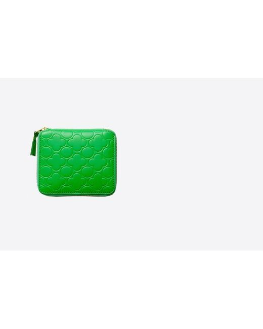 Comme des Garçons | Green Small Clover Embossed Leather Zip Wallet | Lyst