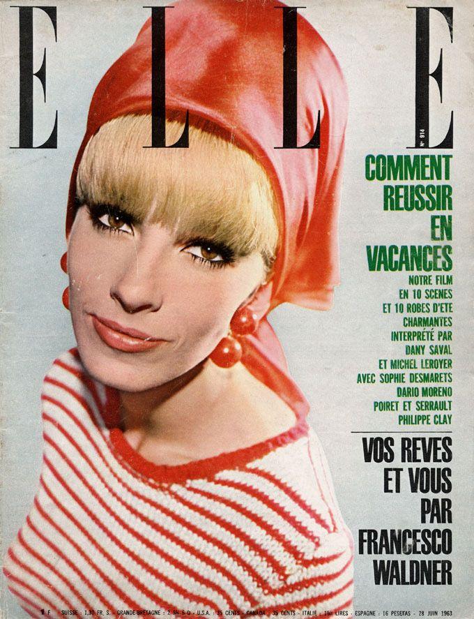 Dany Saval en couverture de Elle n°914 de 1963, photo John Cowan