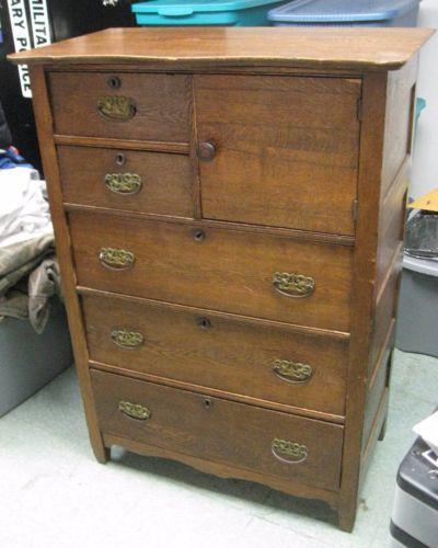 Antique Golden Oak Highboy Tall Dresser Chest Of Drawers W
