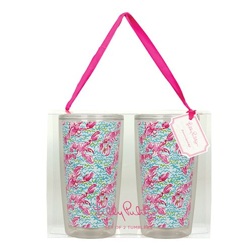 Lilly Pulitzer insulated tumblers in Lobstah Roll at www.ginnymaries.com