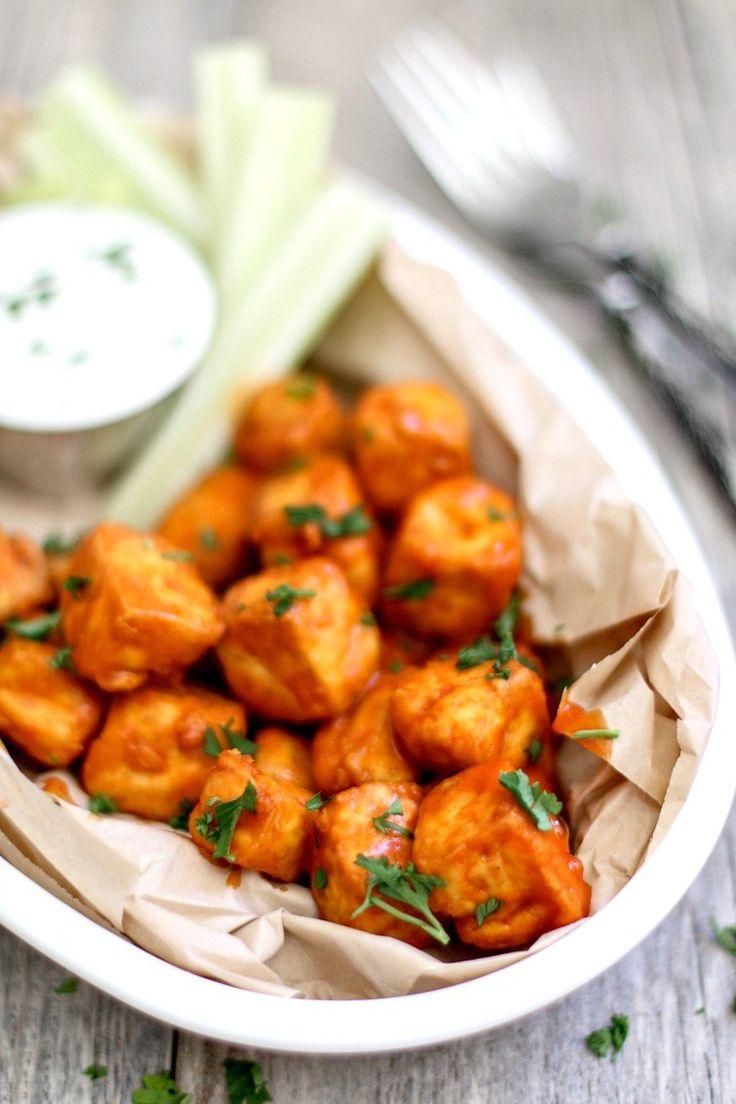 Crispy Buffalo Tofu Bites With Garlicky Yogurt + Feta Dip | Killing Thyme