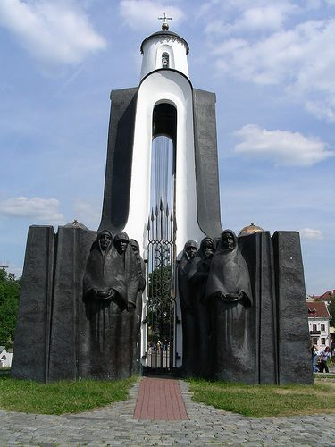 Island of Tears, Minsk, Belarus. The Island of Tears, is a memorial set up in 1988 to commemorate Belarusian soldiers who died in the USSR's disastrous, 9-year war in Afghanistan (1979-1988). The centerpiece of the memorial is the chapel, with haunting figures of grieving mothers, sisters and widows at its base. (V)