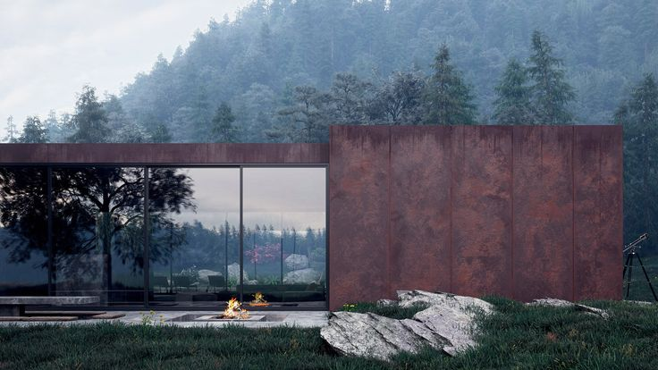 Sergey Makhno Architects has revealed these painterly renderings of a weathering steel holiday home nestled in Ukraine